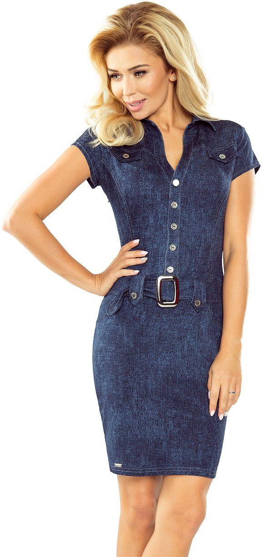 numoco Sukienka szmizjerka z guzikami 142 jeansowa r. S 935-6021 Kleitas sievietēm