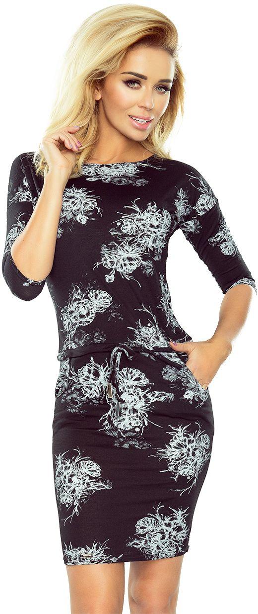 numoco Sukienka sportowa z rekawkiem 3/4 186-1 czarna z bialymi duzymi kwiatami r. XXL 1014-6907 Kleitas sievietēm