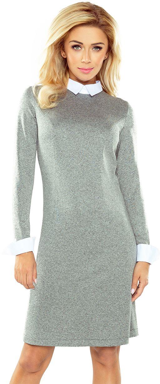 numoco Sukienka sweterkowa z kolnierzykiem 167-1 szara r. L 954-6161 Kleitas sievietēm