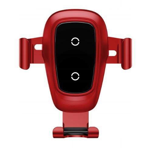 Baseus Gravity Air Vent Turētājs Gaisa Restei Ar Wireless Uzlādi + QC 3.0 Ladētājs + Micro USB Vads 1.2m Sarkans Mobilo telefonu turētāji
