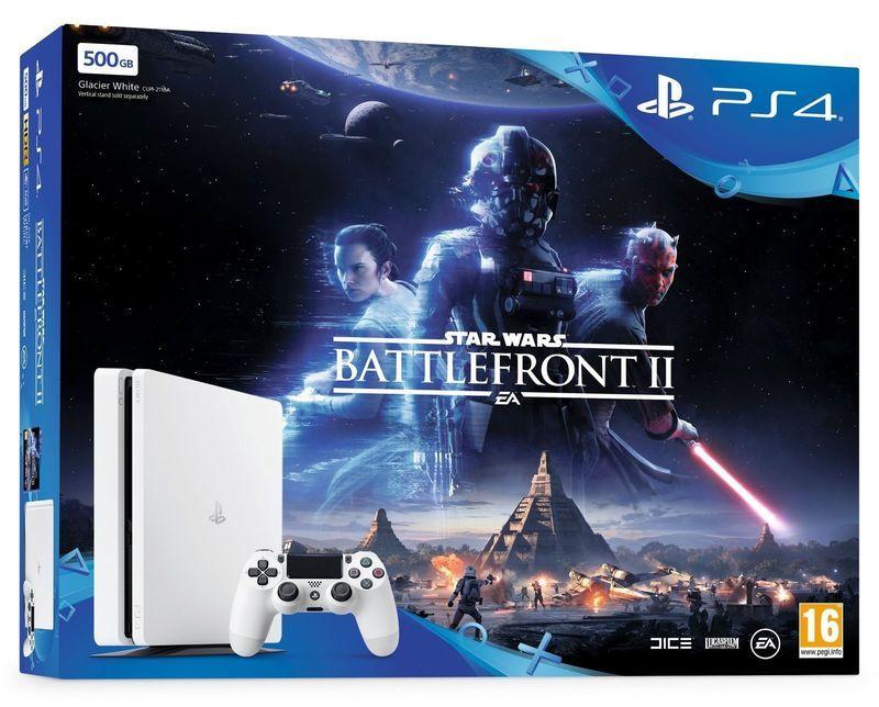 Sony playstation 4 Slim Glacier white 500GB + Star Wars Battlefront 2 CUH-2116A spēļu konsole