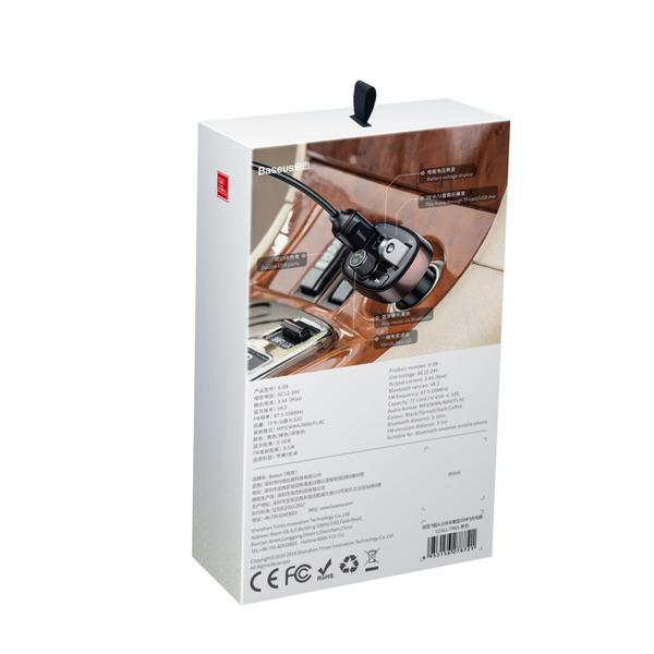 Baseus T-Typed FM Auto Transmitter 3.4A / USB Flash / SD / Bluetooth 4.2 Melns / Violets FM transmiteris