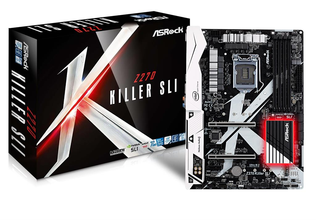 ASRock Z270 Killer SLI, INTEL Z270 Series,LGA1151,4 DDR4, 3xM.2(2for SSD,1Wi-Fi) pamatplate, mātesplate