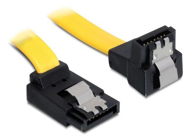 Delock Cable SATA 6 Gb/s up/down metal 30 cm yellow kabelis datoram
