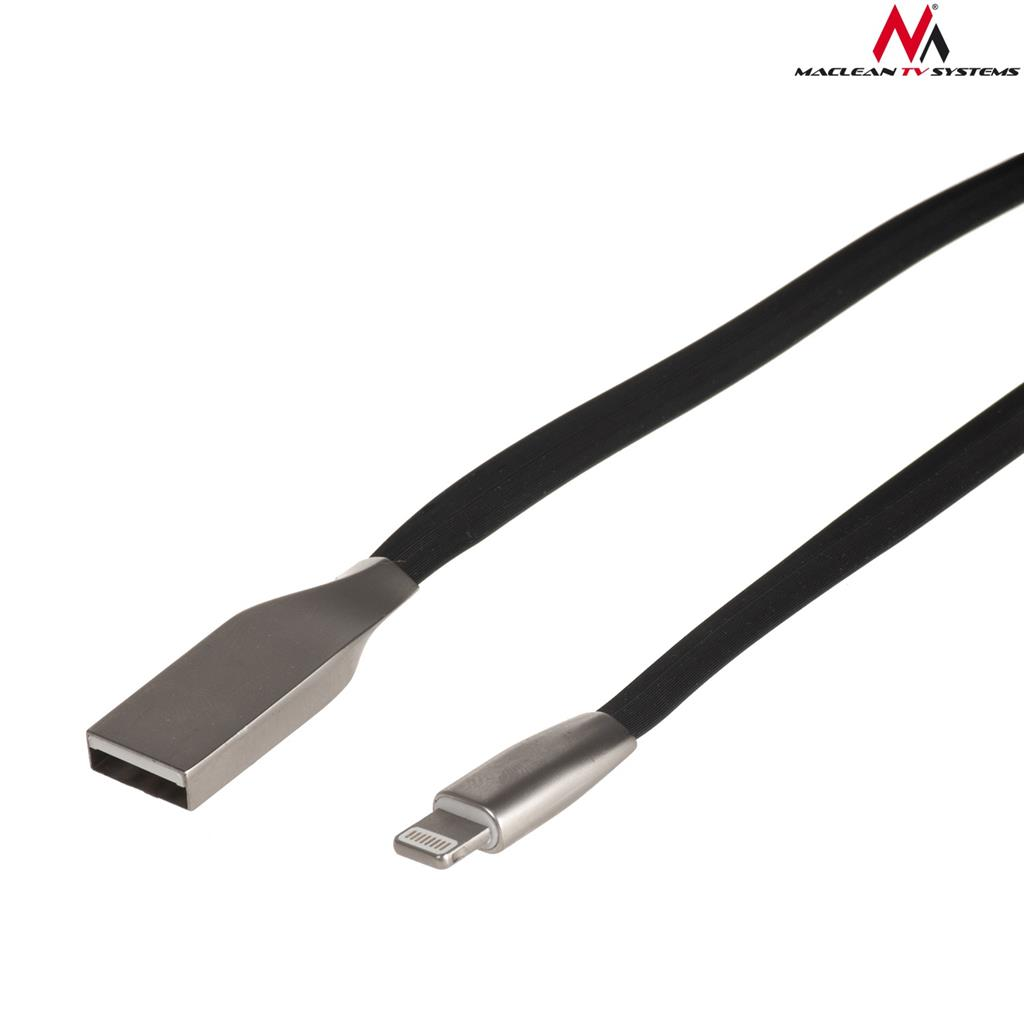 Maclean MCTV-832B USB Cable AM iphone 8PIN flat tangle-free 1m black metal kabelis, vads