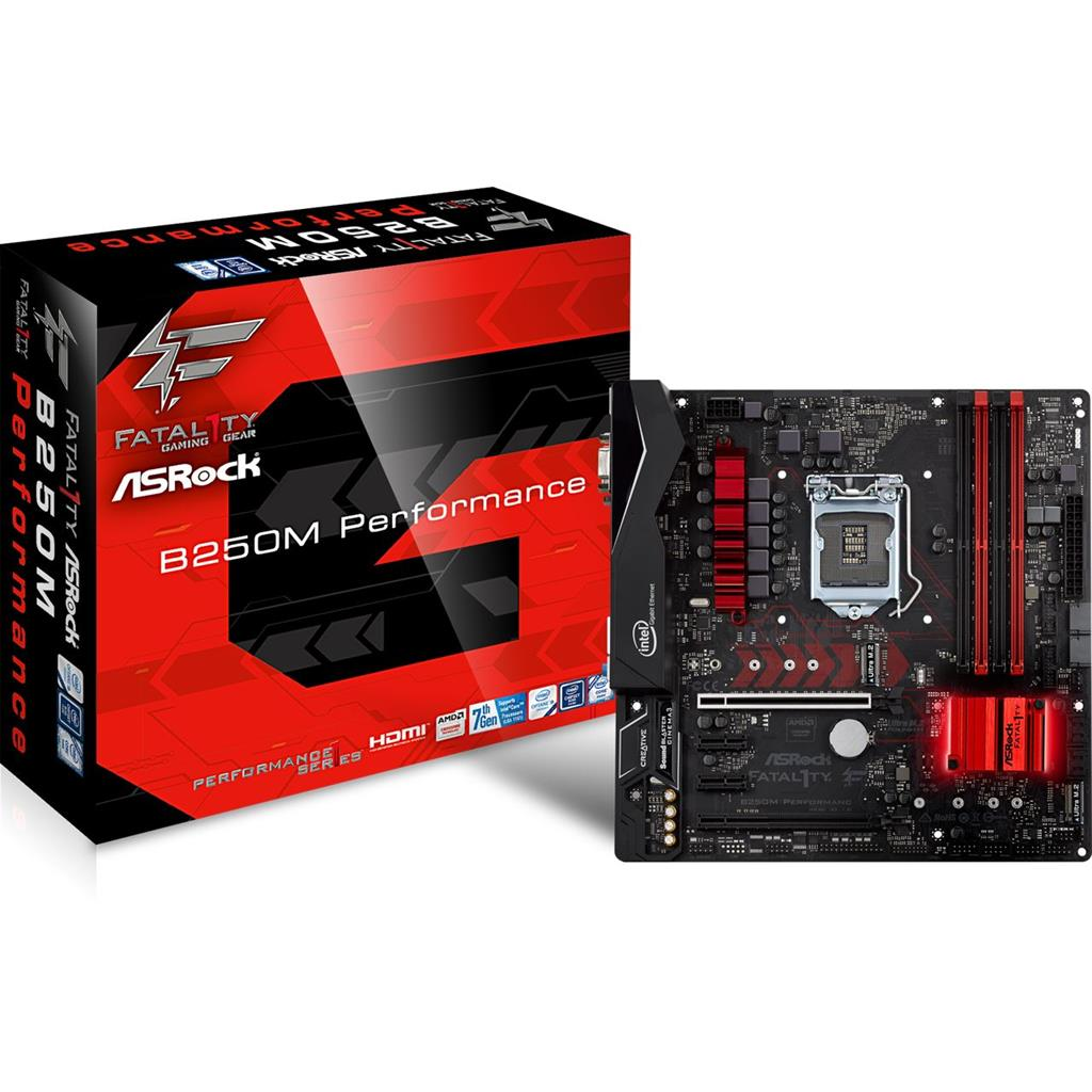 ASRock B250M Performance, INTEL B250 Series,LGA1151,4 DDR4, 2 x M.2 (for SSD) pamatplate, mātesplate