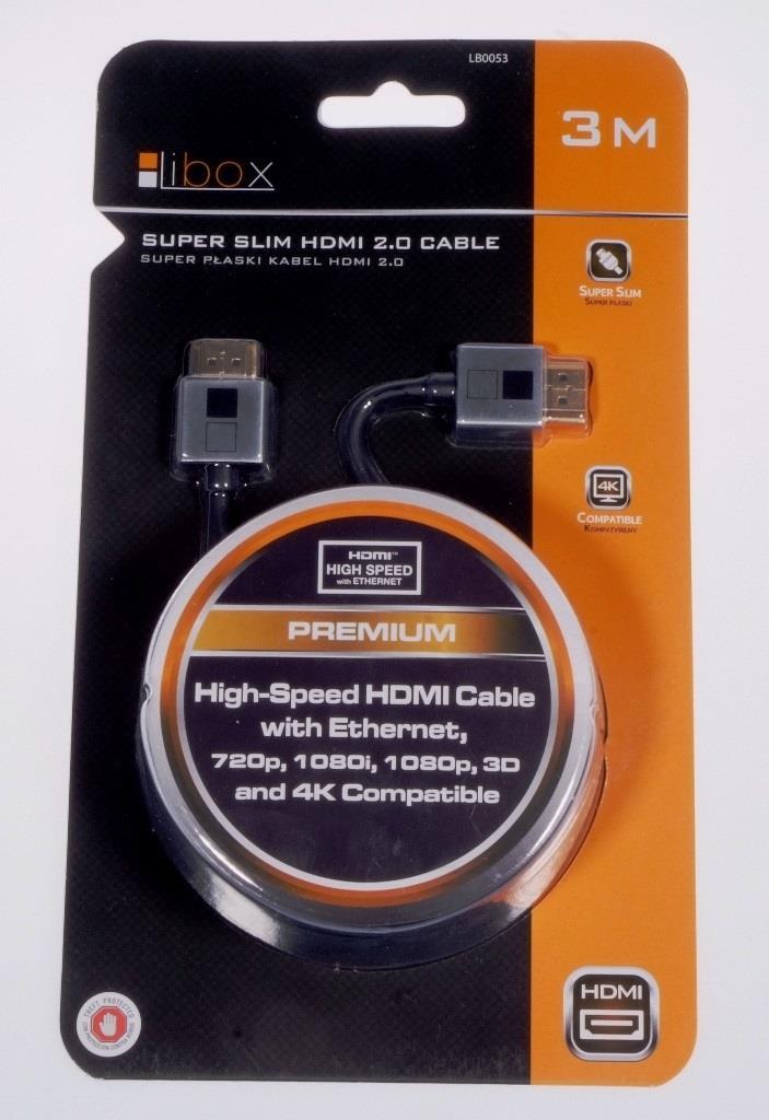 Cable HDMI-HDMI 3m blister Premium Super SLIM HQ 2.0 4K LIBOX LB0053 kabelis, vads