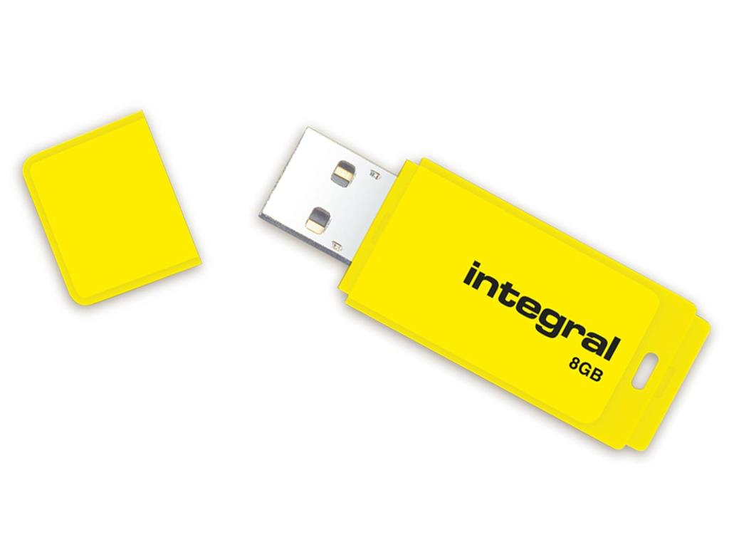 Integral USB Flash Drive 8GB NEON yellow USB Flash atmiņa