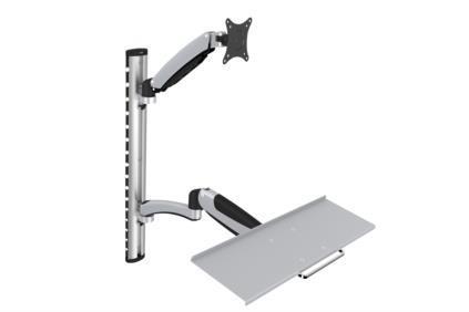 Flexible Wall Mount, 1xLCD+keyboard, max. 27'',  adjustable and rotated 360