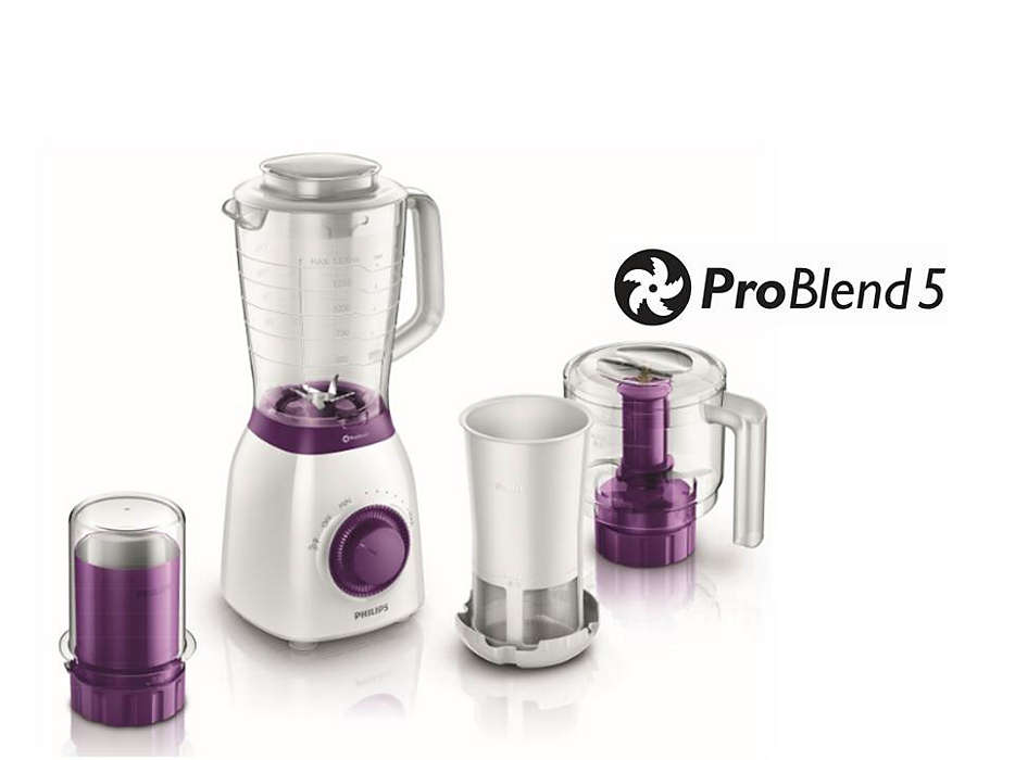 PHILIPS Viva Collection Blenderis, 600W, balts ar violetu HR 2166/00 Blenderis