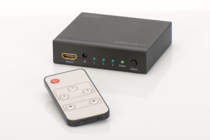 DIGITUS Switch HDMI UltraHD 4K, 3-port., inc. remote aksesuārs portatīvajiem datoriem