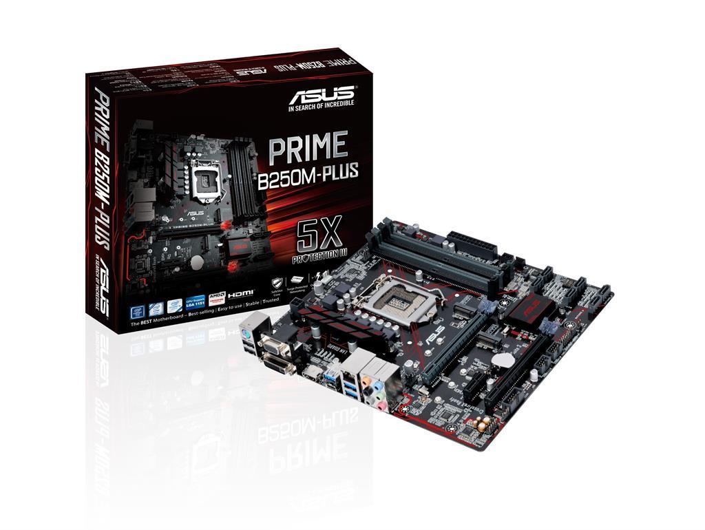ASUS PRIME B250M-PLUS, LGA1151, B250, U3S6, M.2, pamatplate, mātesplate