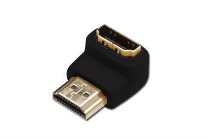 ASSMANN HDMI 2.0 HighSpeed w/Ethernetem Adapter HDMI A angled M HDMI A F black karte