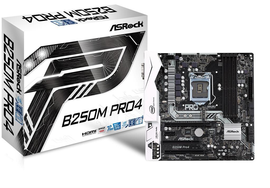 ASRock B250M Pro4, INTEL B250 Series,LGA1151,4 DDR4, 2 x M.2 (for SSD) pamatplate, mātesplate