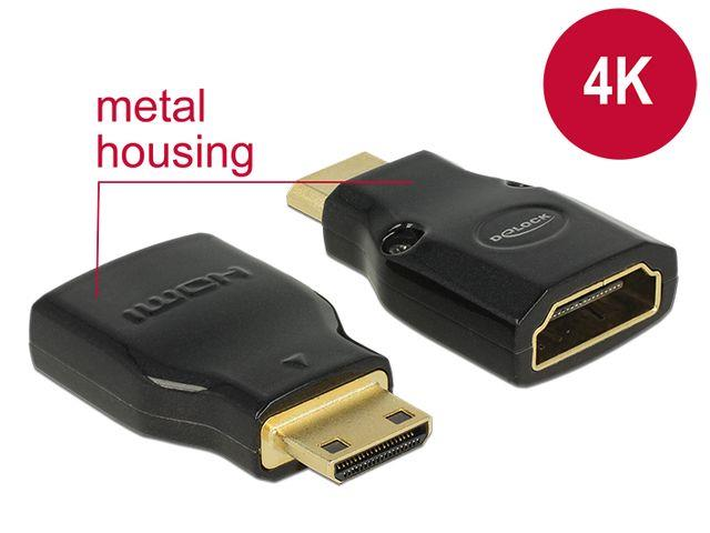 Delock adapter HDMI Mini-C(M)->HDMI(F) High Speed HDMI with Ethernet 4k karte