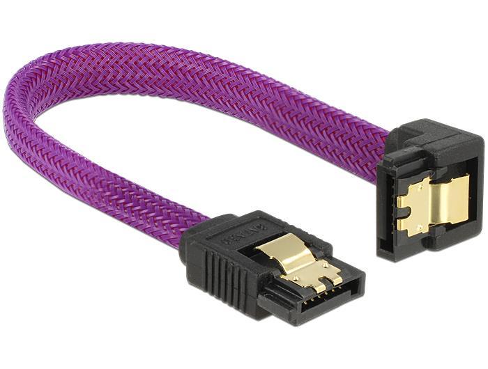 Delock SATA cable 6 Gb/s 10 cm down / straight metal purple Premium kabelis datoram