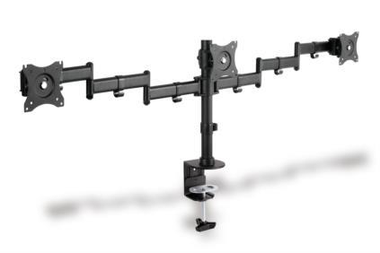 Clamb Mount Monitor Stand, 3xLCD, max. 3x27'', adjustable and rotated 360