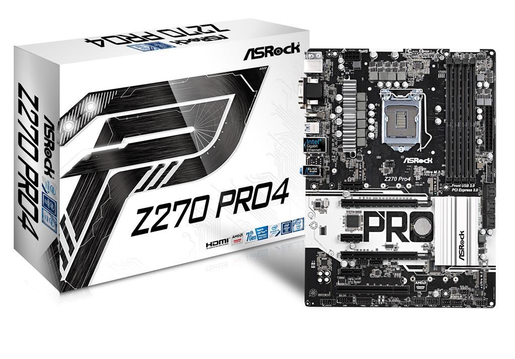 ASRock Z270 Pro4, INTEL Z270 Series,LGA1151,4 DDR4,3 x M.2(2forSSD, 1for Wi Fi) pamatplate, mātesplate