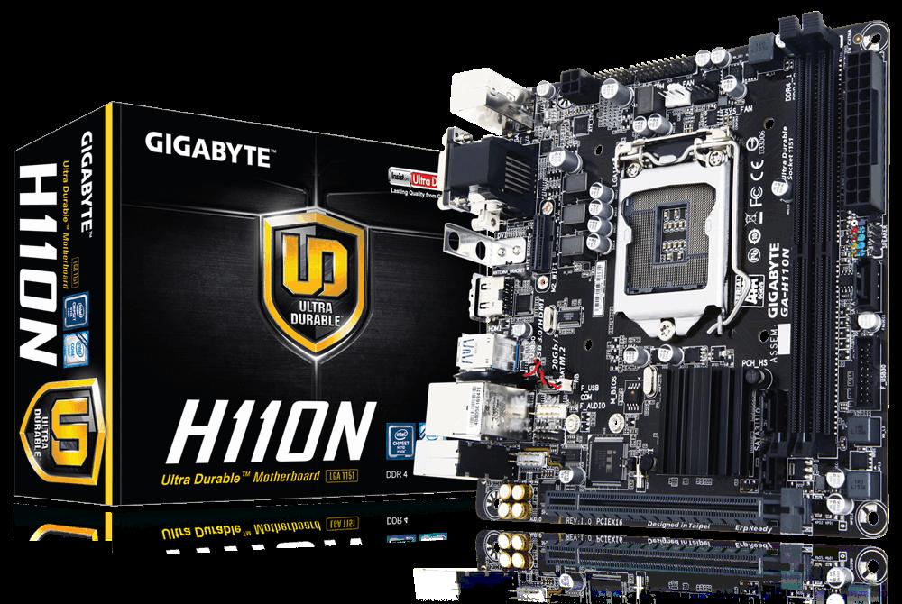 Gigabyte GA-H110N, H110, DualDDR4-2133, SATA3, M.2, HDMI, DVI, D-Sub, mITX pamatplate, mātesplate