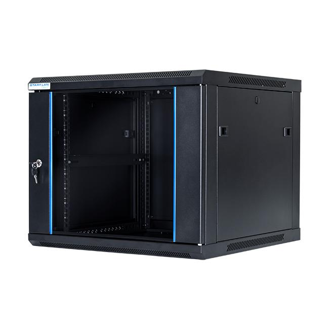START.LAN rack wall-mounting cabinet 19'' 9U 600x600mm black (glass front door)