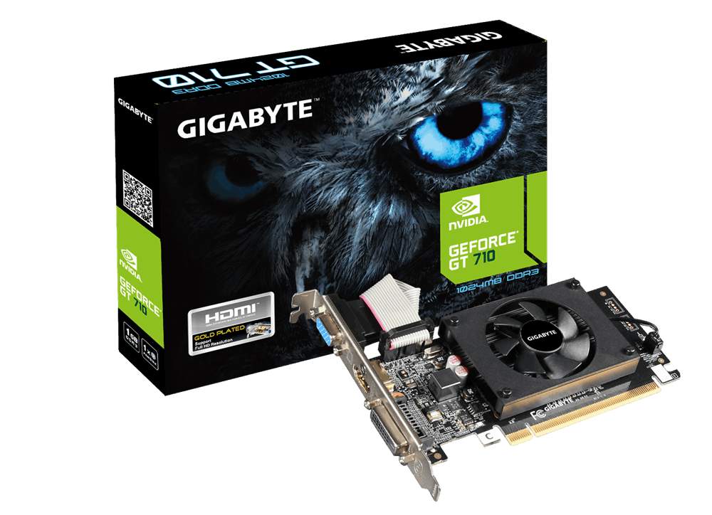 Gigabyte GeForce GT 710, 1GB DDR3 (64 Bit), HDMI, DVI, D-Sub video karte