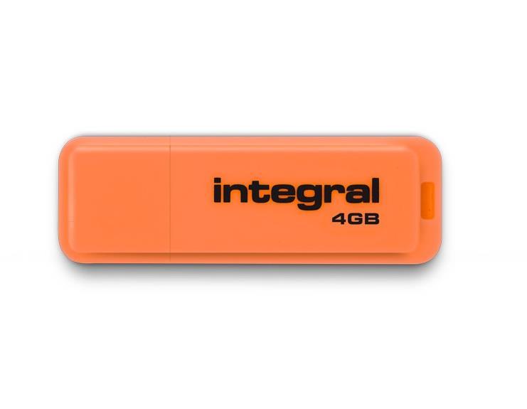 Integral USB Flash Drive 4GB NEON orange USB Flash atmiņa