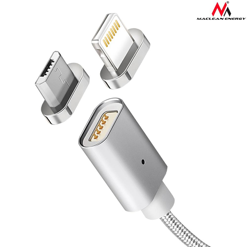 Maclean MCE160 Metal magnetic data cable 1m micro USB Quick & Fast Charge silver USB kabelis