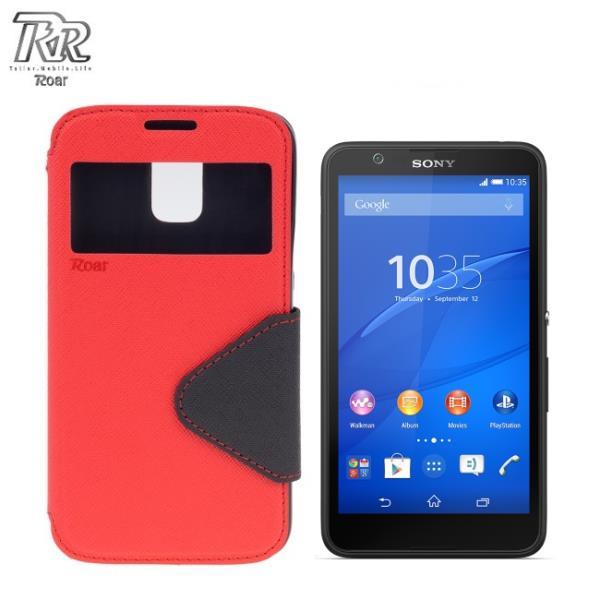 Roar Fancy Diary sāniski atverams maks ar lodziņu un stendu Sony E2104 E2105 Xperia E4 Sarkans/Zils (EU Blister) aksesuārs mobilajiem telefoniem