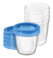 AVENT trauki ar vāciņiem krūts piena/ēdiena uzglab šanai 180 ml (5gab) SCF619/05 bērnu barošanas pudelīte