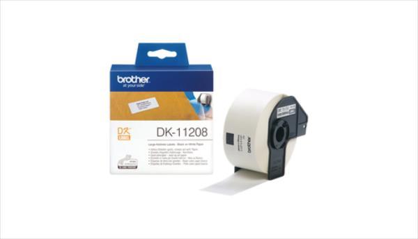 Brother DK-11208 Large Address Labels White, DK, 38mm x 90mm biroja tehnikas aksesuāri