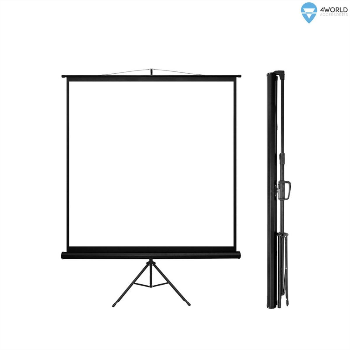 4World Projection screen with stand 178x178 (1:1) Matt White ekrāns projektoram