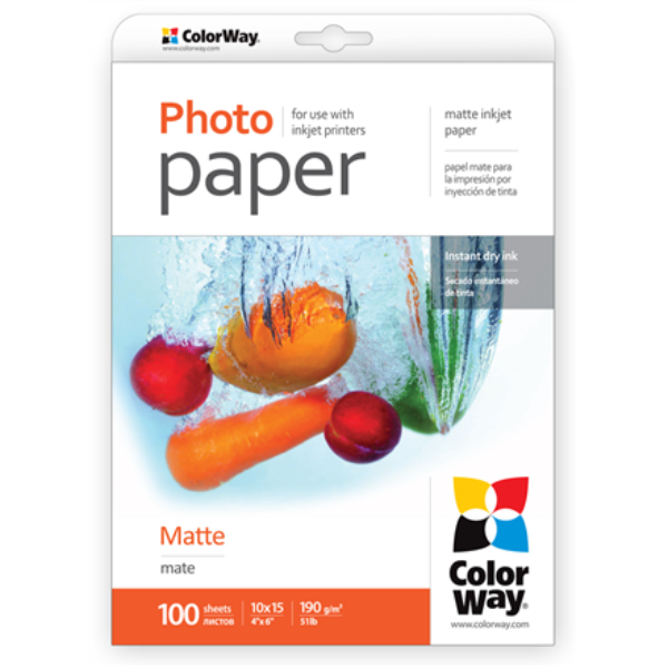 ColorWay Matte Photo Paper, 10x15, 190 g/m2, 100 sheets foto papīrs