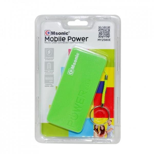 MSONIC POWER BANK 5000MAH  LI-ION MY2580E Green Powerbank, mobilā uzlādes iekārta