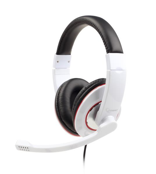 Gembird microphone & stereo headphones with volume control, white austiņas