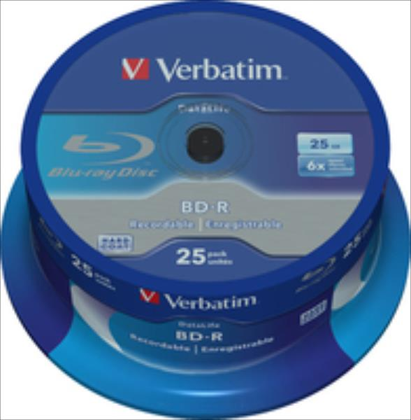 BluRay BD-R Single layer DATALIFE Verbatim [ Spindle 25 | 25GB | 6x matricas