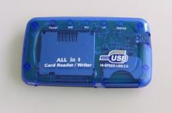 Gembird USB2.0 CF, MD, SM, MS, SD, MMC, XD Card card reader/writer blue karšu lasītājs