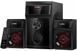 SVEN MS-302, 2.1 speakers, black, FM, USB/SD, Display, RC unit, power output 20W+2x10W (RMS) datoru skaļruņi
