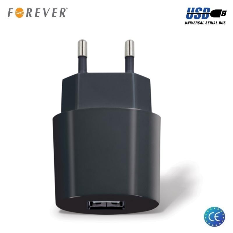 Forever TC-08 Tīkla lādētājs USB 5V / 2.1A Melns iekārtas lādētājs