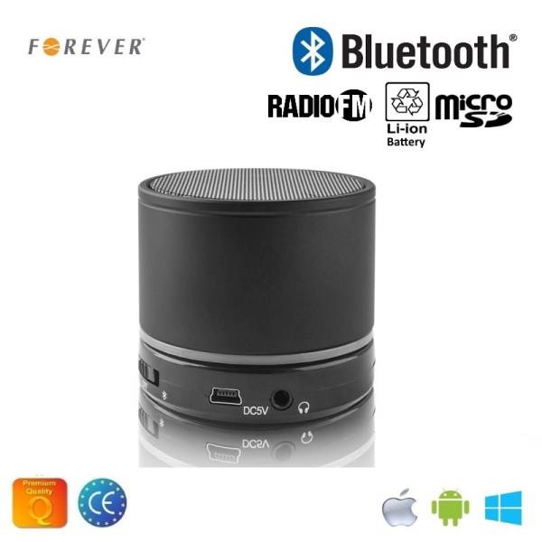 Forever BS-100 Bluetooth Bezvadu Skaļrunis ar Micro SD / Radio / Aux / Telefona Zvana Funkciju Melns pārnēsājamais skaļrunis