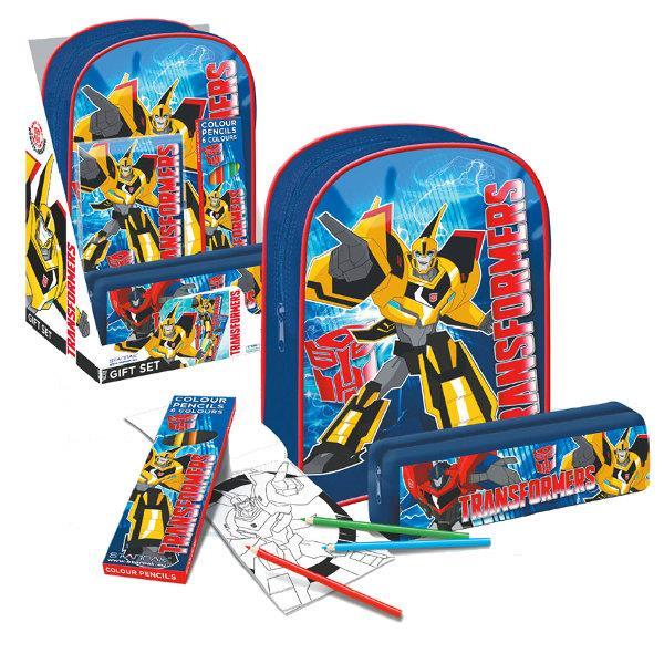 Starpak Transformers - (soma+penālis+zīmuļi+krās. grāmata) Skolas somas un penāļi