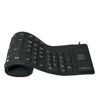 Keyboard LogiLink USB / PS/2 Flexibel Wasserfest black klaviatūra