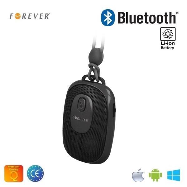 Forever BS-110 Bezvadu Bluetooth Ceļojumu Skaļrunis ar Selfie Foto pogu un silikona siksniņu Melns pārnēsājamais skaļrunis
