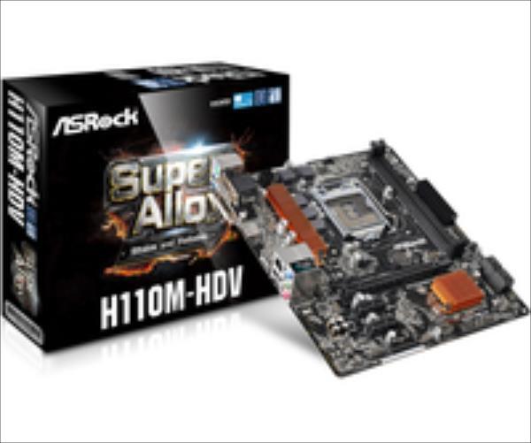 ASRock H110M-HDV, H110, DualDDR4-2133, SATA3, HDMI, DVI, D-Sub, mATX pamatplate, mātesplate
