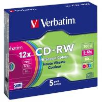 CD-RW Verbatim [ 5pcs, 700MB, 12x, slim jewel case, Colour ] matricas