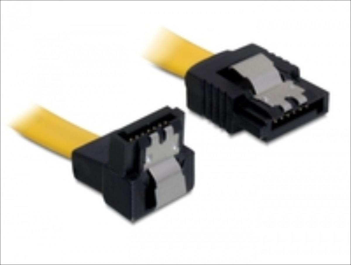 Delock Cable SATA 6 Gb/s male straight > SATA male down 30 cm yellow metal kabelis datoram