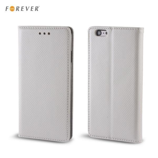 Forever Magnēstikas fiksācijas sāniski atverams maks bez klipša Sony E2104 E2105 Xperia E4 Sudrabains aksesuārs mobilajiem telefoniem