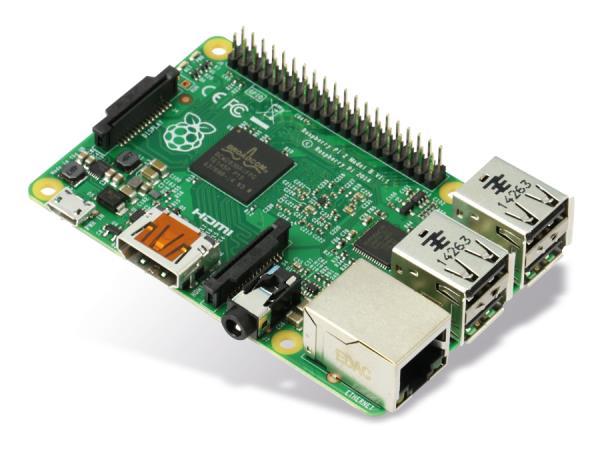 Raspberry Pi 2 Model B, SoC-Mini-Mainboard, 1 GB RAM, 4x USB 2.0 pamatplate, mātesplate