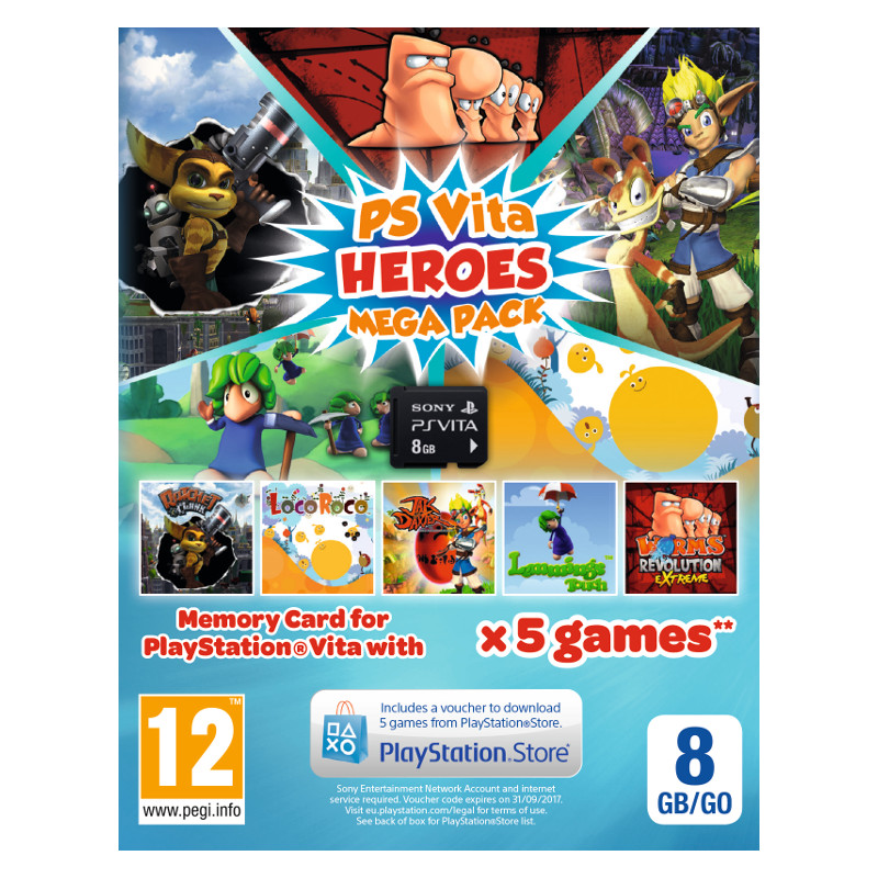 PS Vita Heroes Mega Pack + 8GB Memory Card spēļu konsole