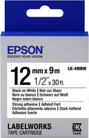 Epson LK4WBW lapasg Adh. Black on White tape 12mm (C53S654016) papīrs