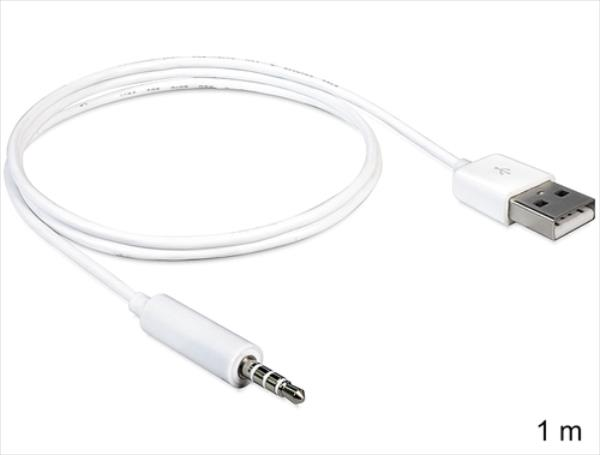Delock iPod Shuffle Cable 3,5 to USB A 1m  4043619831821 aksesuārs